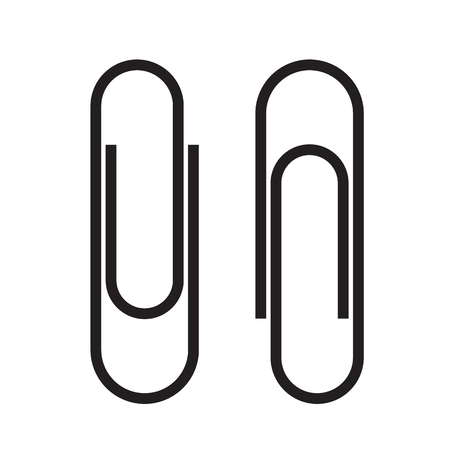 Paper clip attachment. Paperclip black icon. Attach file business document. Vector illustration isolated on white background