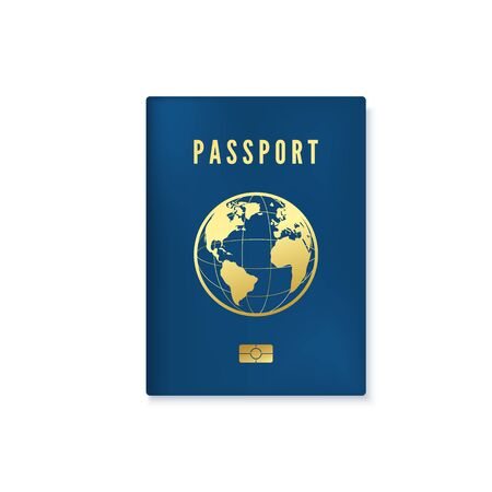 Biometric blue passport cover template. Identity document with digital id. Vector illustration isolated on white background