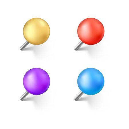 Set of color push pins with shadow. Realistic office needle. Vector illustration isolated on white background