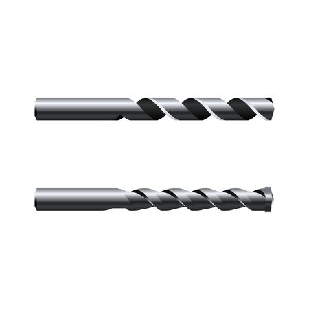 Realistic steel Drill Bits. Vector illustration isolated on white background