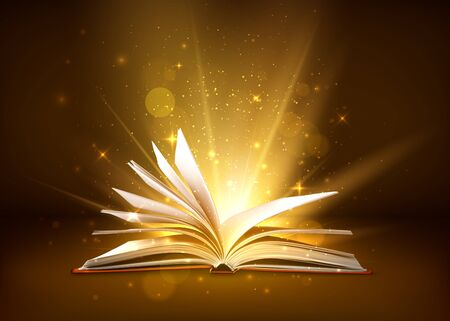 Mystery open book with shining pages. Fantasy book with magic light sparkles and stars. Vector illustration Stock Illustratie
