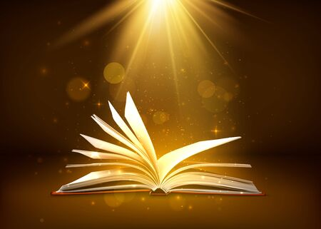 Mystery open book with shining pages in brown colors. Fantasy book with magic light sparkles and stars. Vector illustration