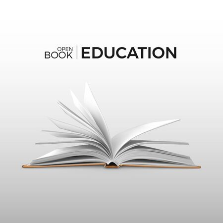 Education and study realistic open book with white pages. Textbook template. Vector illustration Stock Illustratie