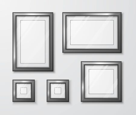 Photo Frames on gray wall. Modern empty frame template with transparent glass and shadow. Vector illustration  Stock Illustratie