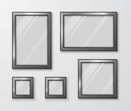 Collection of photo frames on the gray wall. Modern empty frame template with transparent glass and shadow. Vector illustration Stock Illustratie
