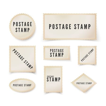 Postal stamp template with shadow. Retro blank postage stamp with perforated border. Vector illustration isolated on white background 矢量图像