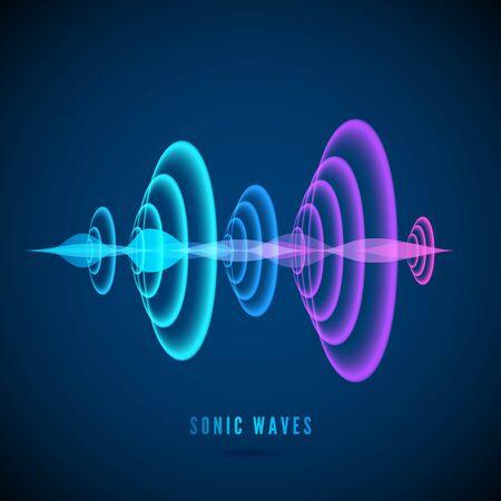 Color abstract digital sound wave. Sine wave on dark background. Radial sonar waves. Vector illustration