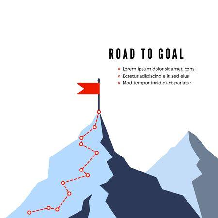 Succesroute. Pad naar de top van de berg. Bedrijfsstrategie pad naar succes. Platte vectorillustratie Vector Illustratie