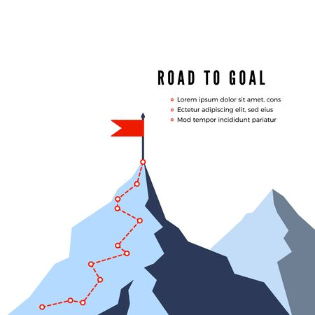Success Route. Path to top of mountain. Business strategy path to success. Flat Vector illustration Çizim