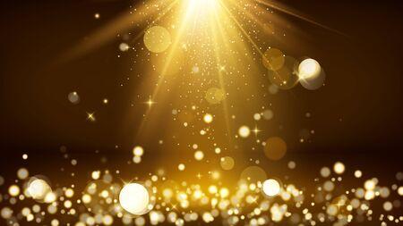 Light rays and golden falling glittering dust. Shiny spotlight or scene. Blurred lights bokeh. Vector illustration