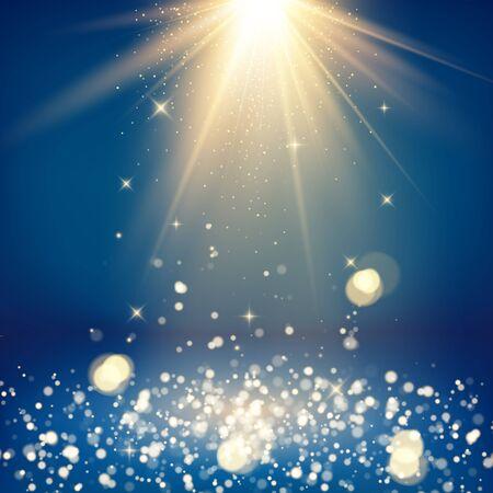 Scene with glitter and bokeh effect. Light rays and golden falling glittering dust. Shiny studio background. Vector illustration
