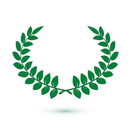 Green laurel wreath icon for web design. Award sign. Vector illustration isolated on white background