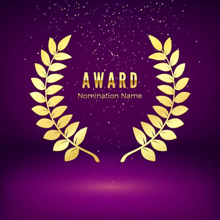 Gold award emblem with falling confetti. Laurel wreath on purple background. Icon of golden laurel branch.  Rewarding the best. Vector illustration