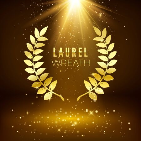 Golden shiny award sign. Laurel wreath on dark luxury background with golden glitter. Vector illustration