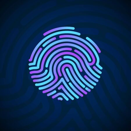 Cyber Security Finger Print Scanned. Fingerprint Scanning Identification System. Biometric Authorization and Security Concept. Vector illustration on dark background