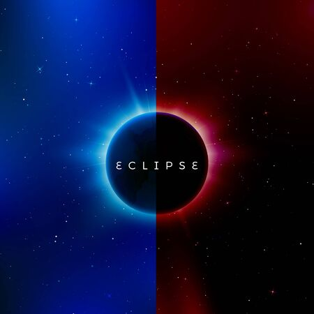 Solar eclipse. Astronomy effect - sun eclipse. Abstract astral universe background red and blue version. Rays of starlight burst out from behind the planet. Vector illustration