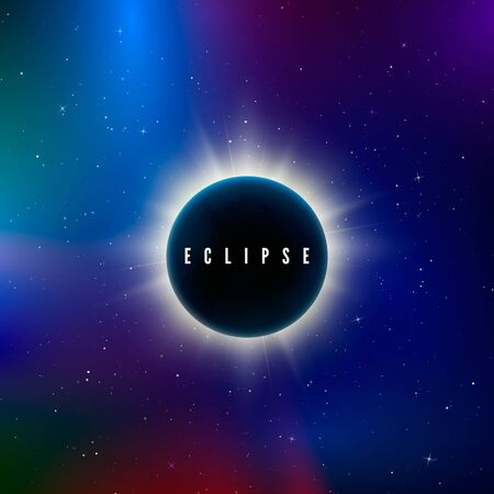 Solar eclipse. Astronomy effect - sun eclipse. Abstract astral universe background. Rays of starlight burst out from behind the planet. Vector illustration Çizim