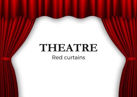 Open red theater curtain. Background for banner or poster. Vector illustration isolated on white background