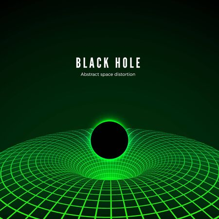 Black Hole visualisation. Illustration of deformation time and space in green colors. Destruction of matter by black hole. Vector illustration Stok Fotoğraf - 129392540