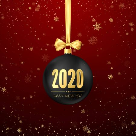 Happy New Year 2020. Greeting card with snowfall black Christmas ball with golden ribbon and gold numbers 2020 on them. New Year and Christmas decoration element. Vector illustration Ilustração