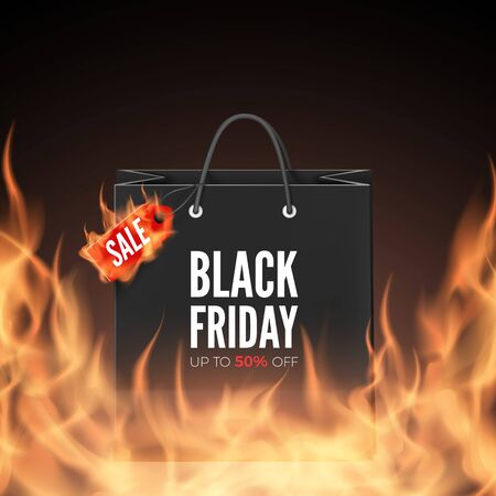 Black friday banner. Discount label and shopping bag in fire. Best offer. Vector illustration  イラスト・ベクター素材