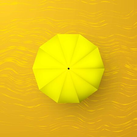 Yellow umbrella on sand. Top view. Parasol with shadow. Vector illustration