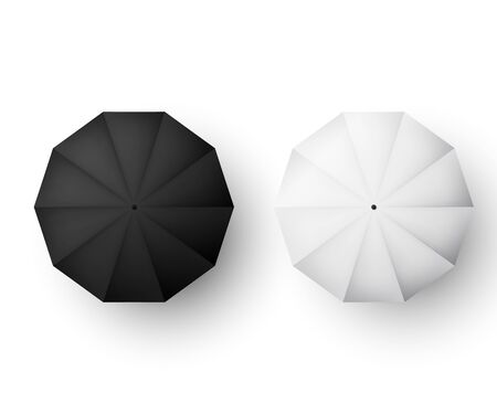 Umbrellas set. Black and white parasol view from above. Vector illustration isolated on white 向量圖像