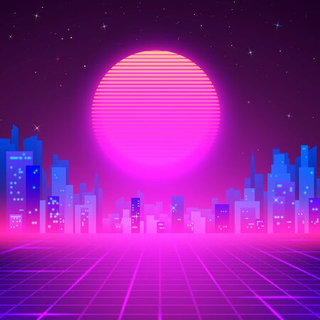 Silhouetted Night City on Skyline. 80s Retro Sci-Fi Background. Cyberpunk or Futuristic Design in 80s Style. Vector illustration