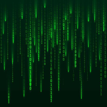 Sci-fi Background. Binary computer code. Green digital numbers. Matrix of binary numbers. Futuristic hacker abstraction backdrop. Random numbers falling on the dark background. Vector