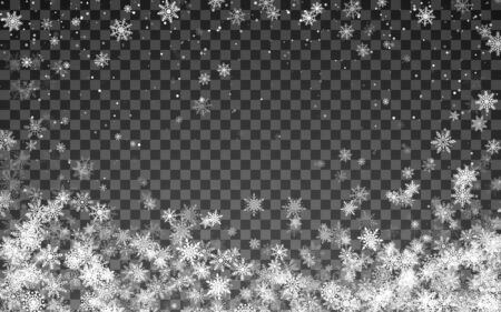 Magic Christmas snowfall. Falling white snowflakes on transparent background. Vector illustration