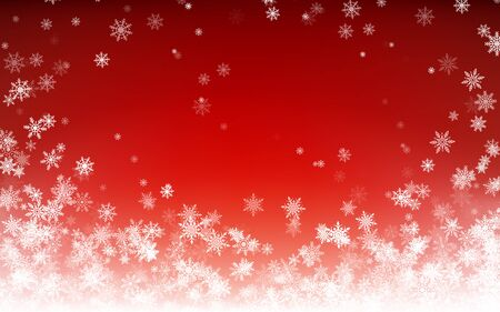 Holiday winter background for Merry Christmas and Happy New Year. Falling white snowflakes on red background. Winter falling snow. Vector illustration Vektorové ilustrace
