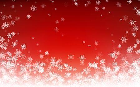 Priorità bassa di inverno di festa per buon Natale e felice anno nuovo. Fiocchi di neve bianchi che cadono su sfondo rosso. Neve che cade d'inverno. Illustrazione vettoriale Vettoriali