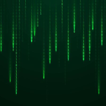 Matrice. Flusso di codice binario sullo schermo. Numeri casuali che cadono. Dati e tecnologia. Illustrazione vettoriale