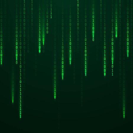 Matriz. Secuencia de código binario en pantalla. Caen números aleatorios. Datos y tecnología. Ilustración vectorial