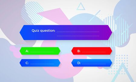 Design of quiz in blue color. Question and four answer option. Correct answer is green. Wrong answer is red. Vector illustration isolated on geometric shapes background