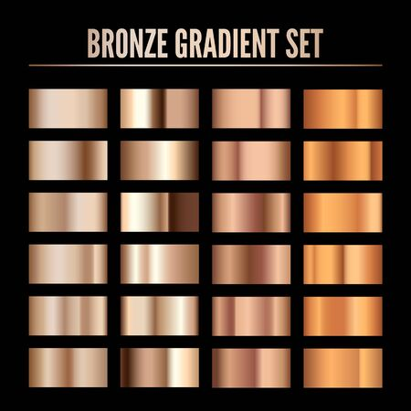 Bronze Metal Realistic Gradient. Collection of Colorful Bronze Palette. Shine Metallic Material Template. Vector illustration