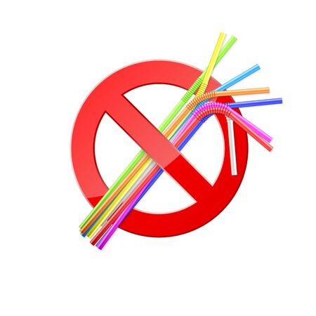 Banner for environmental day. Stop use plastic straws. Say No pollution of nature. Vector illustration Ilustração