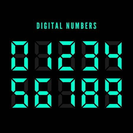 Color digital numbers set. Digital number font text. Vector illustration isolated on white background Иллюстрация