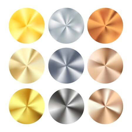 Golden Silver and Bronze radial gradient set. Collection of shiny bronze silvery and gold pattern. Realistic metallic foil. Vector illustration