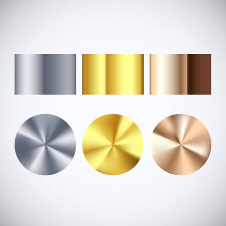 Golden Silver and Bronze radial gradient set. Collection of shiny bronze silvery and gold pattern. Vector illustration