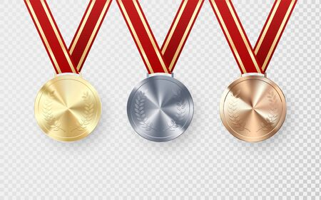Golden Silver and Bronze medals with laurel hanging on red ribbon. Award symbol of victory and success. Vector illustration isolated on transparent background Çizim
