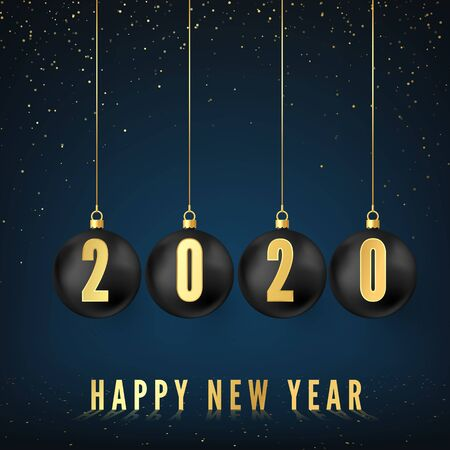 Happy New Year 2020. Greeting card with black Christmas balls and golden numbers 2020 on them. New Year and Christmas decoration element. Vector illustration