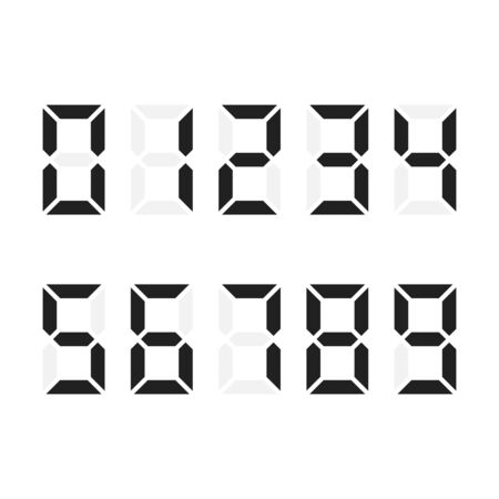 Digital numbers set. Digital number font text. Vector illustration isolated on white background Иллюстрация