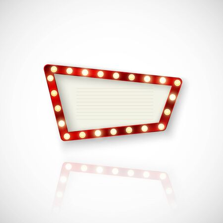 Retro Sign. Signboard with shiny lights and reflection. Vector illustration isolated on white background