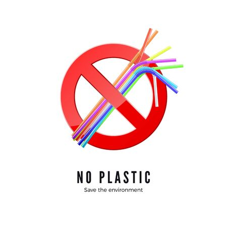 No Plastic Straws. Save environment banner. Protect nature icon. Vector illustration