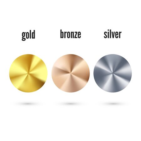 Golden Silver and Bronze radial gradient set. Realistic metallic foil. Collection of shiny bronze silvery and gold pattern. Vector illustration  Ilustrace