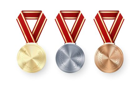 Golden Silver and Bronze medals with laurel hanging on red ribbon. Set of Awards. Award symbol of victory and success. Vector illustration