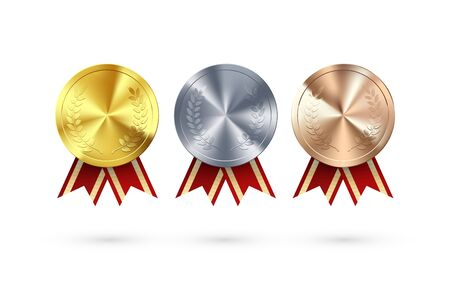 Set of Awards. Golden Silver and Bronze medals with laurel hanging and red ribbon. Award symbol of victory and success. Vector illustration Çizim