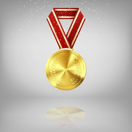Golden medal with laurel and red ribbon. Gold award symbol of victory and success. Golden Medal on grey background with reflection. Vector illustration