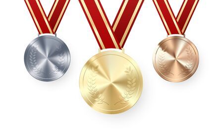 Golden Silver and Bronze medals with laurel hanging on red ribbon. Award symbol of victory and success. Vector illustration